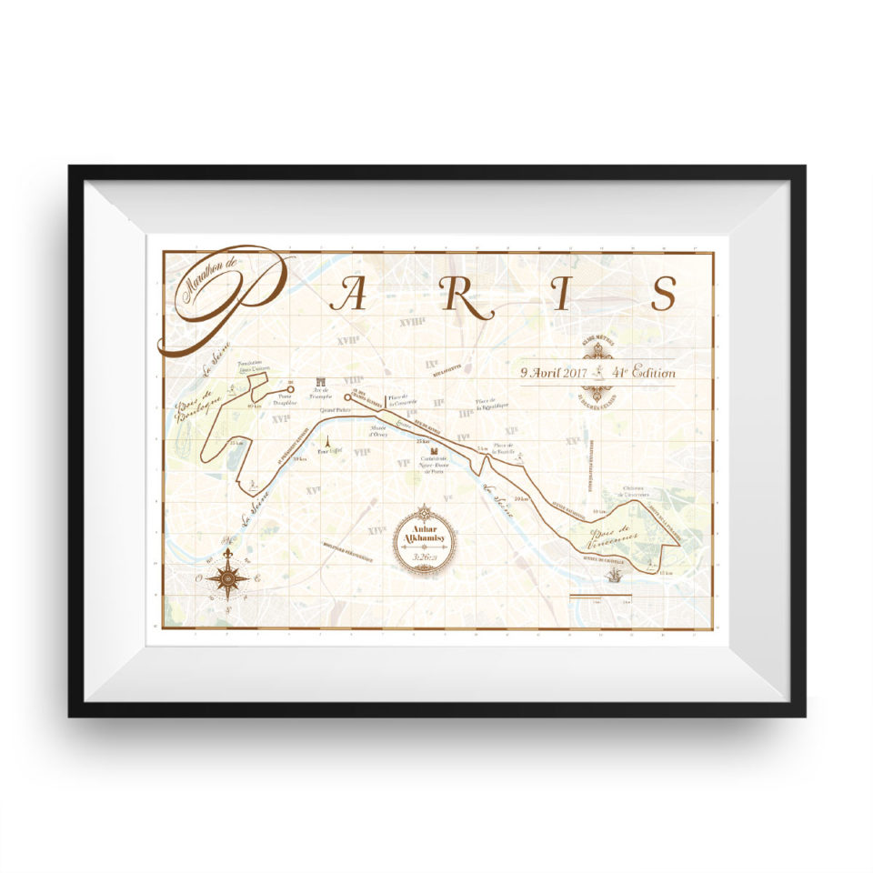 Parijs Marathon print – print my run