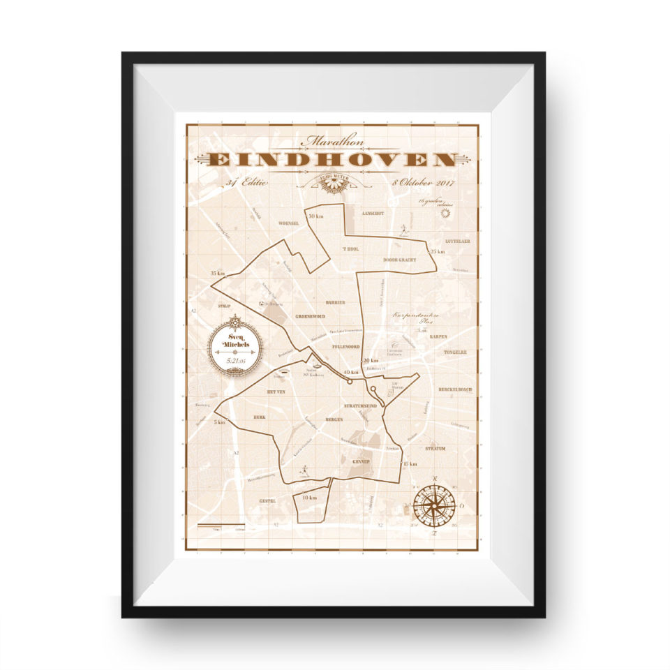 Eindhoven Marathon classic brown – print my run