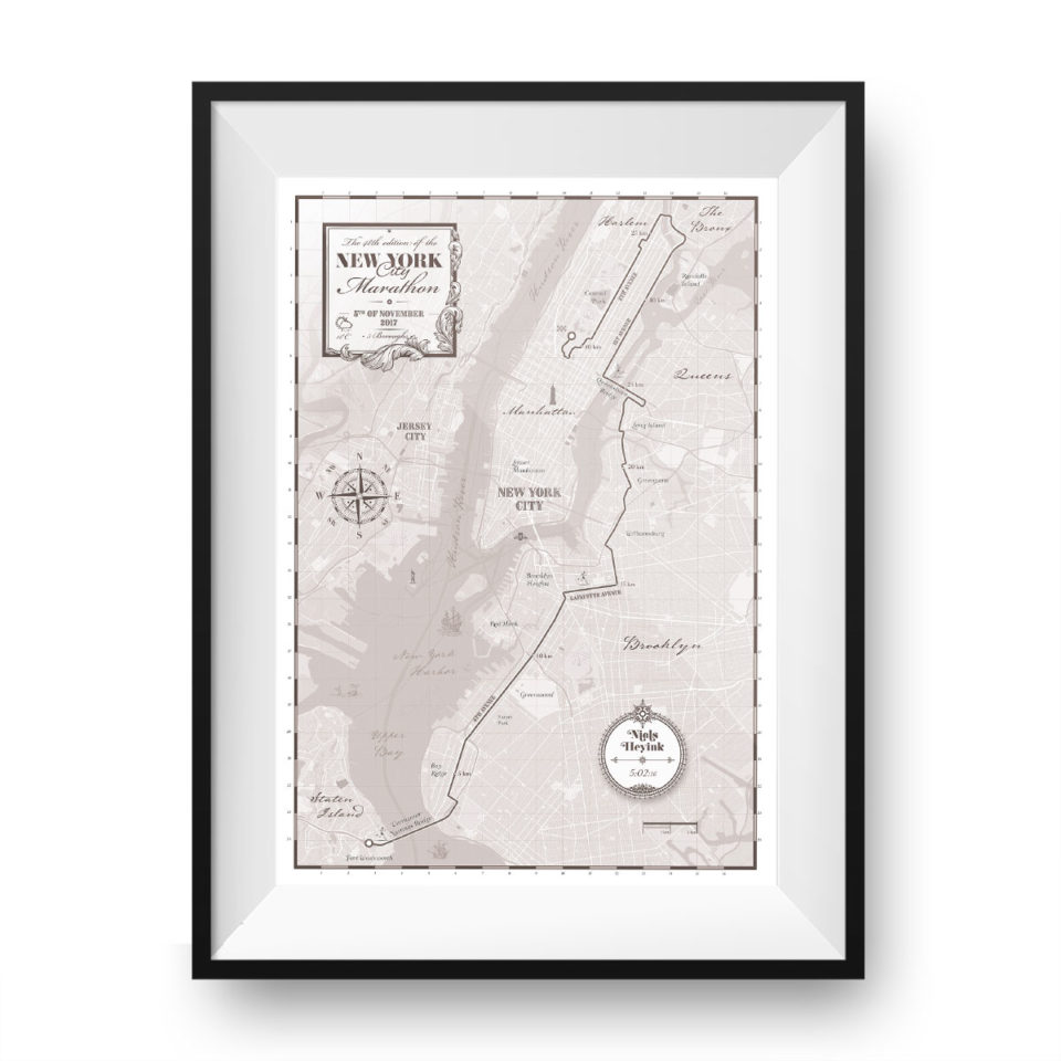 Print New York City Marathon Grey – Printmyrun