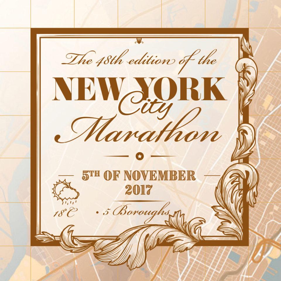 Print New York City Marathon Classic Brown – Printmyrun