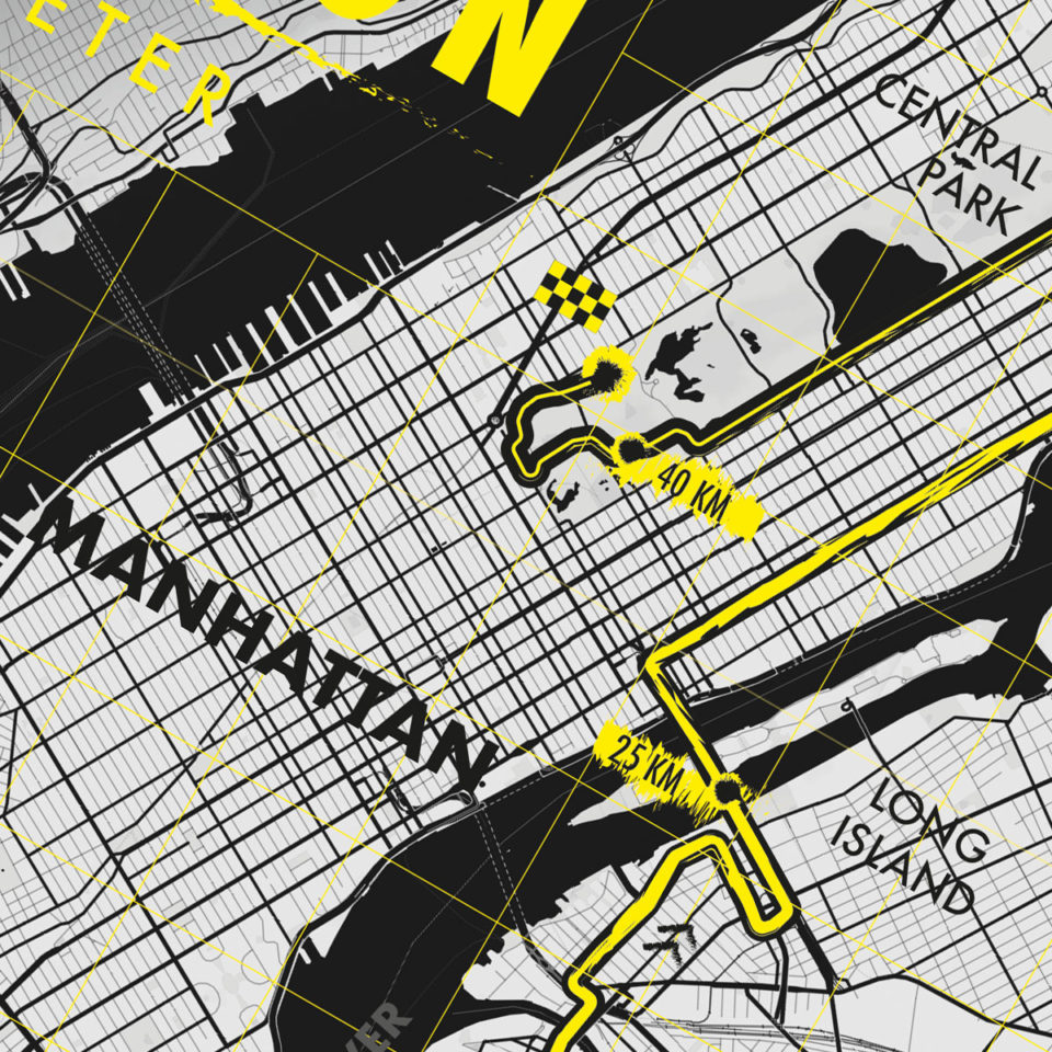 Print New York City Marathon black-yellow – Printmyrun